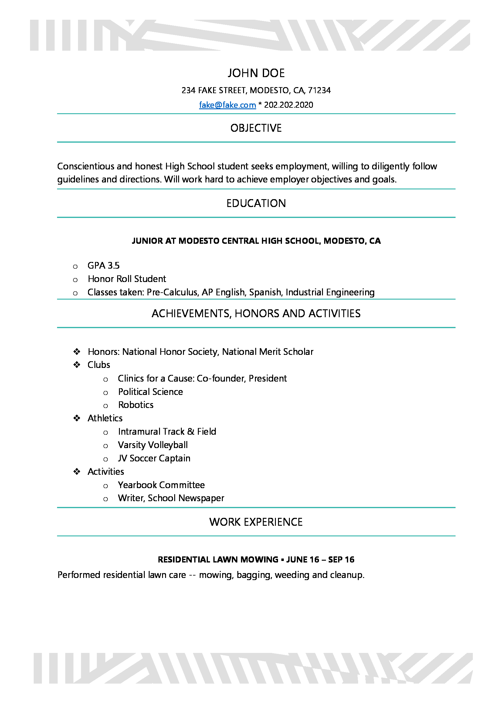 High School Resume   Resume Builder For High School Students