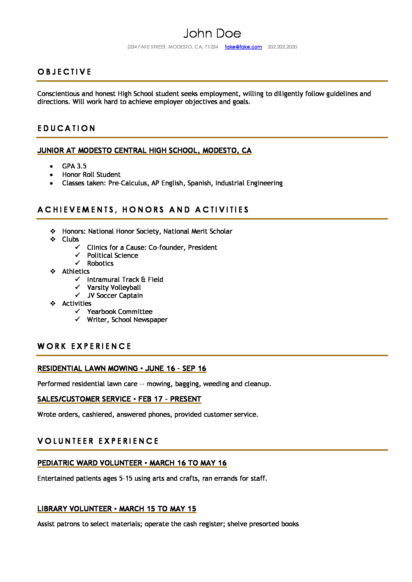 student job resume examples high school job resume example of job